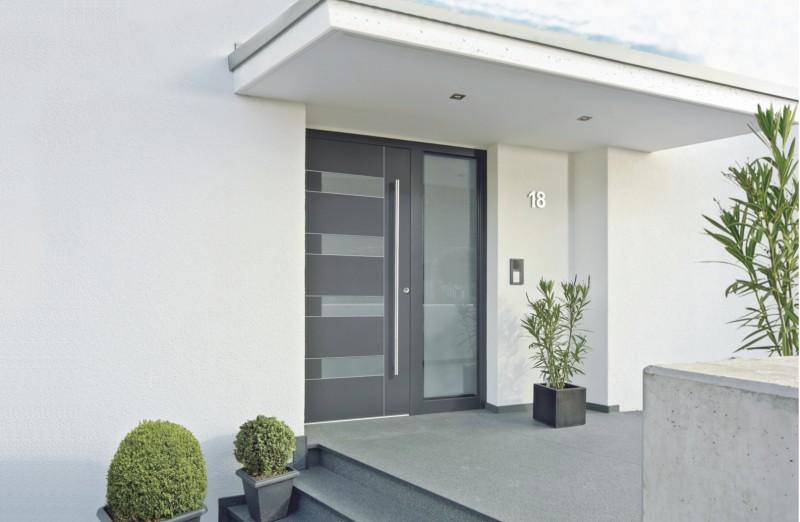 Aluminium holz haust ren kneer s dfenster for Modernes haus mit vordach